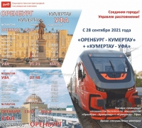 Пригородный поезд «Орлан» по маршруту «Уфа-Оренбург-Уфа».